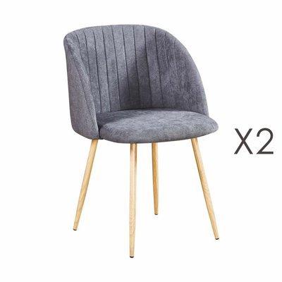 Lot de 2 chaises en tissu suédine gris foncé - LINEA