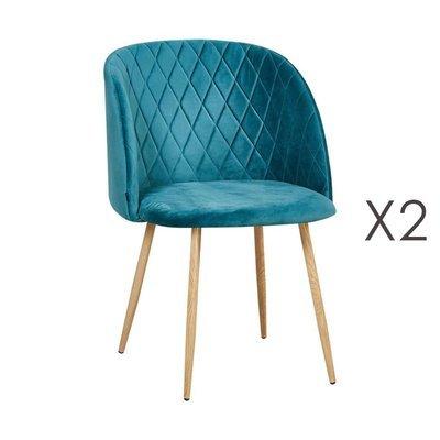 Lot de 2 chaises en tissu velours bleu - LINEA