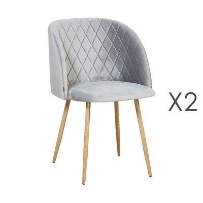 Lot de 2 chaises en tissu velours gris - LINEA