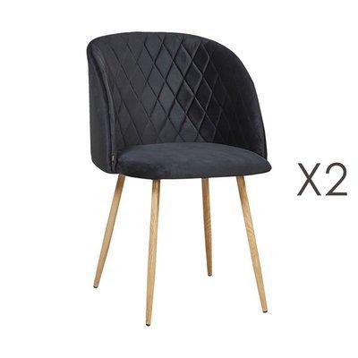 Lot de 2 chaises en tissu velours noir - LINEA