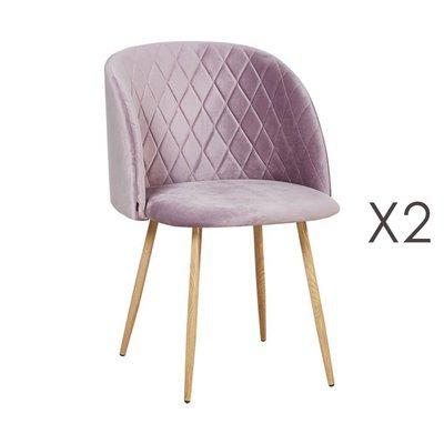 Lot de 2 chaises en tissu velours rose - LINEA