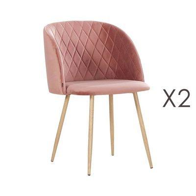 Lot de 2 chaises en tissu velours rose vieilli - LINEA