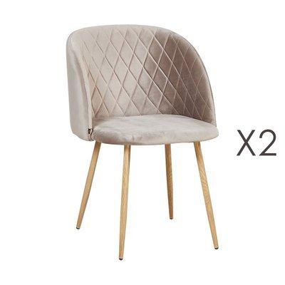 Lot de 2 chaises en tissu velours taupe - LINEA