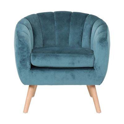 Fauteuil 78x73x76 cm en tissu velours bleu - VIDAL