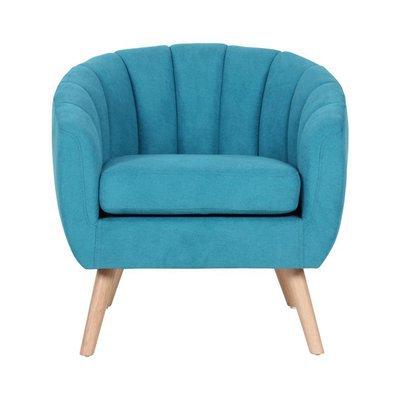 Fauteuil 78x73x76 cm en tissu suédine turquoise - VIDAL