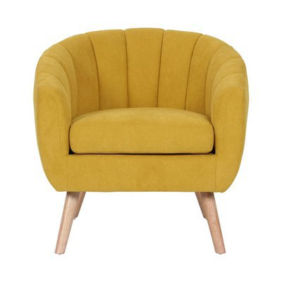Fauteuil 78x73x76 cm en tissu suédine jaune - VIDAL