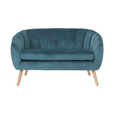 Canapé 128x73x76 cm en tissu velours bleu - VIDAL