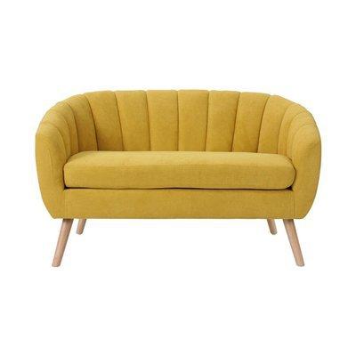 Canapé 128x73x76 cm en tissu suédine jaune - VIDAL