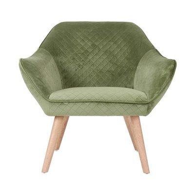 Fauteuil 82x75x75 cm tissu velours vert - ELGA