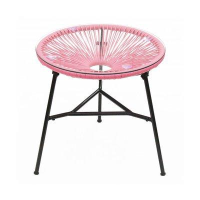 Table ronde 50 cm rose et noir avec plateau en verre - SCOUBY