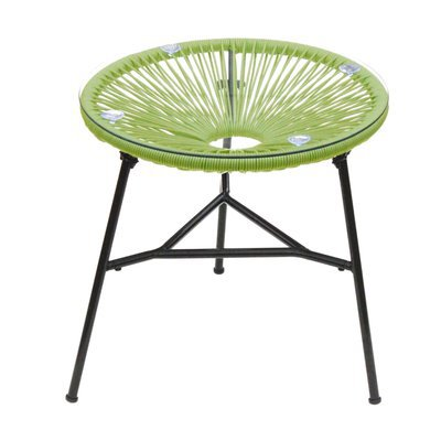 Table ronde 50 cm vert et noir avec plateau en verre - SCOUBY