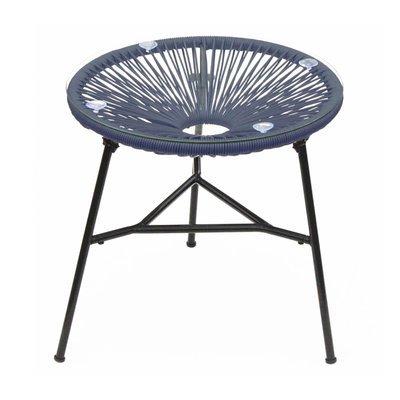 Table ronde 50 cm bleu et noir avec plateau en verre - SCOUBY