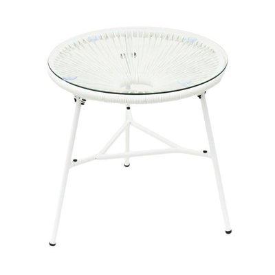 Table ronde 50 cm blanc et noir avec plateau en verre - SCOUBY