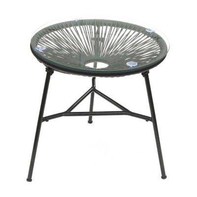 Table ronde 50 cm noir avec plateau en verre - SCOUBY