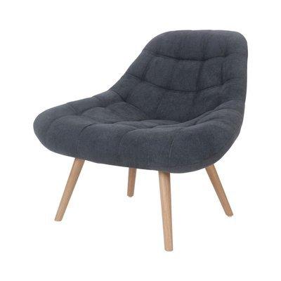Fauteuil lounge 84x80x85 cm en tissu suédine anthracite - YEIMY
