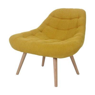 Fauteuil lounge 84x80x85 cm en tissu suédine jaune - YEIMY
