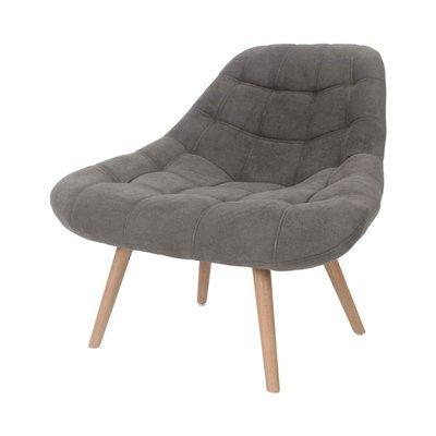 Fauteuil lounge 84x80x85 cm en tissu suédine taupe - YEIMY
