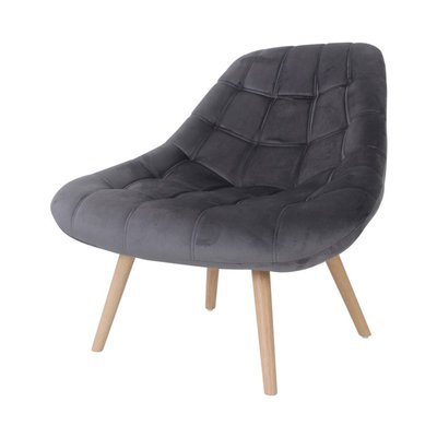 Fauteuil lounge 84x80x85 cm en tissu velours anthracite - YEIMY