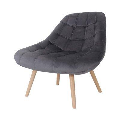 Fauteuil lounge 84x80x85 cm en tissu velours anthracite - YEIMY