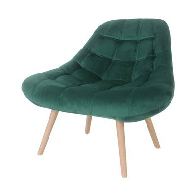 Fauteuil lounge 84x80x85 cm en tissu velours vert - YEIMY