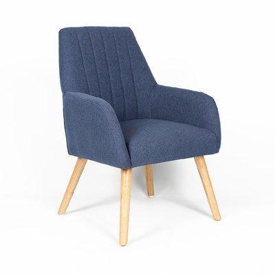 Fauteuil 63x64x90 cm en tissu bleu - WARE