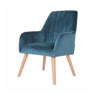 Fauteuil 63x64x90 cm en tissu velours bleu - WARE