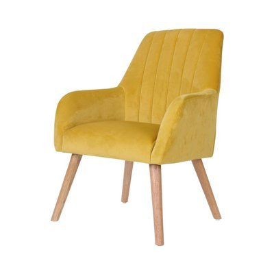 Fauteuil 63x64x90 cm en tissu velours jaune - WARE
