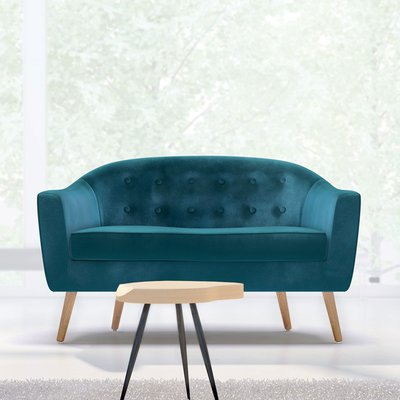 Canapé 130x77x78 cm en tissu velours bleu canard - NUNCA