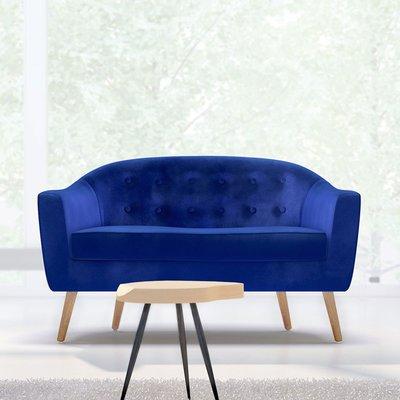 Canapé 130x77x78 cm en tissu velours bleu - NUNCA