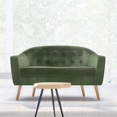 Canapé 130x77x78 cm en tissu velours vert - NUNCA
