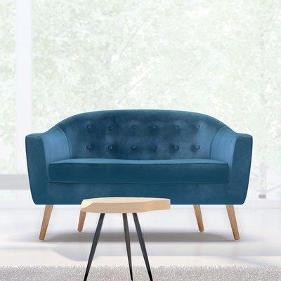 Canapé 130x77x78 cm en tissu velours bleu clair - NUNCA