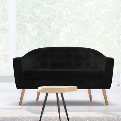 Canapé 130x77x78 cm en tissu velours noir - NUNCA
