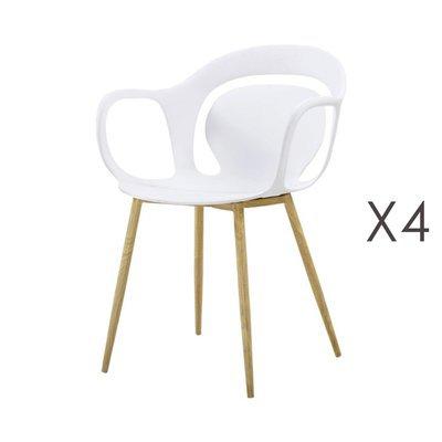 Lot de 4 chaises 60x60x81 cm blanc - MELKY