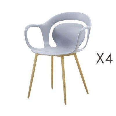 Lot de 4 chaises 60x60x81 cm gris  - MELKY