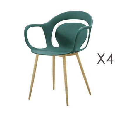 Lot de 4 chaises 60x60x81 cm vert  - MELKY