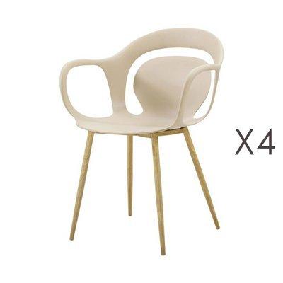 Lot de 4 chaises 60x60x81 cm beige  - MELKY
