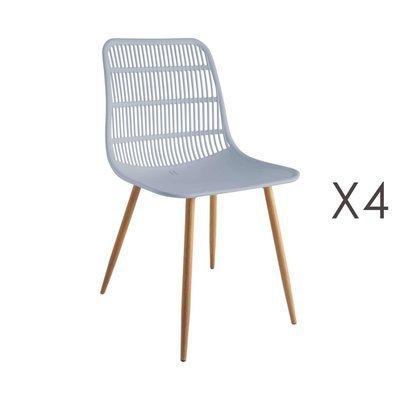 Lot de 4 chaises 46x50x85 cm gris - PESCA