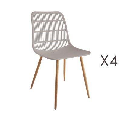 Lot de 4 chaises 46x50x85 cm taupe - PESCA