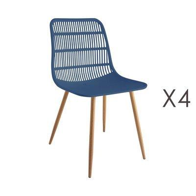 Lot de 4 chaises 46x50x85 cm bleu - PESCA