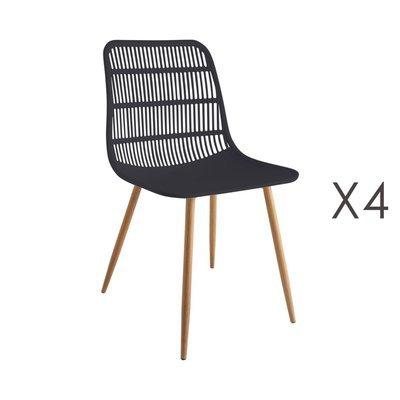 Lot de 4 chaises 46x50x85 cm noir - PESCA