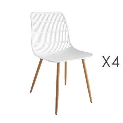 Lot de 4 chaises 46x50x85 cm blanc - PESCA