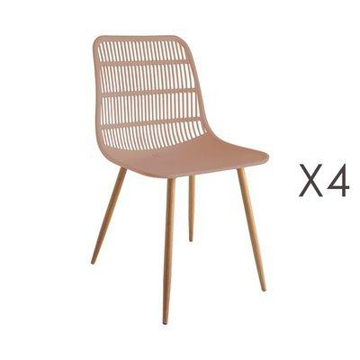 Lot de 4 chaises 46x50x85 cm rose - PESCA