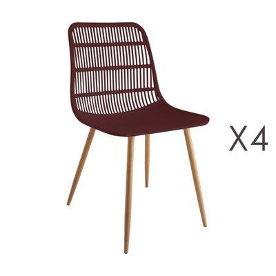 Lot de 4 chaises 46x50x85 cm bordeaux - PESCA