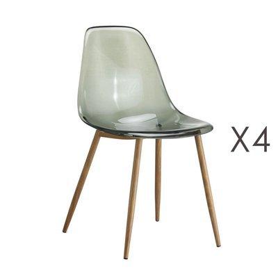 Lot de 4 chaises transparentes fumées et pieds naturel - DELYA