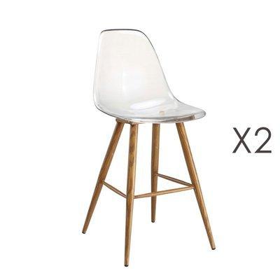 Lot de 2 chaises de bar transparentes et pieds naturel - DELYA