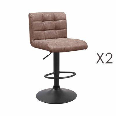Lot de 2 chaises de bar 50x45,5x88 cm en PU taupe - GABIN