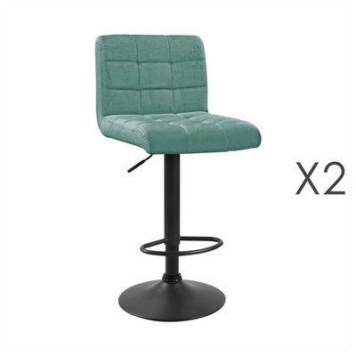 Lot de 2 chaises de bar 50x45,5x88 cm en velours bleu - GABIN
