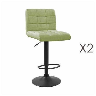 Lot de 2 chaises de bar 50x45,5x88 cm en velours vert clair - GABIN
