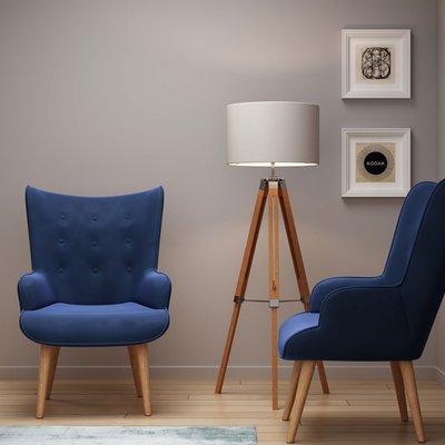 Fauteuil 69x76x98 cm en tissu velours bleu foncé - JOFFRY