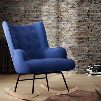 Fauteuil à bascule 68x92x100 cm en tissu velours bleu foncé - JOFFRY